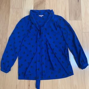 Juicy Couture Blue Birds Long Sleeve Blouse